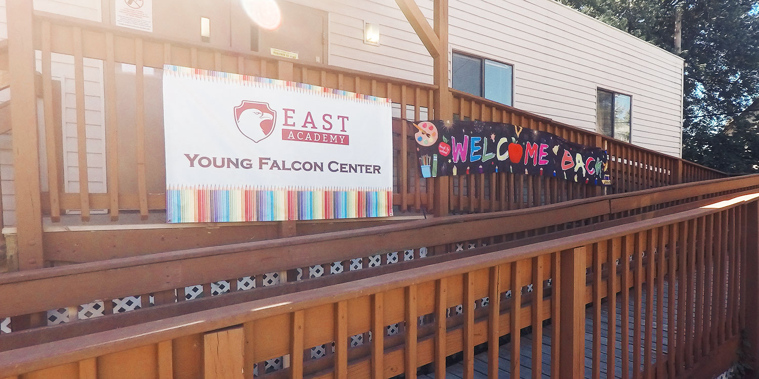 Young Falcon Canter entry and welcome sign